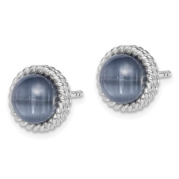 Sterling Silver Rhodium-plated Created Grey Cat's Eye Post Earrings