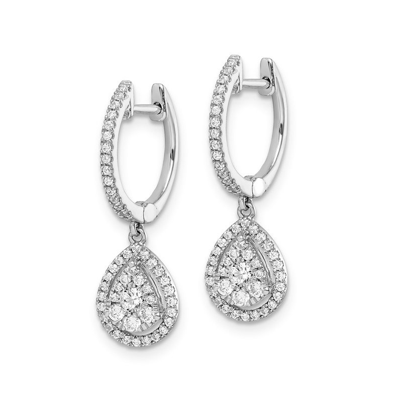 Quality Gold 14k White Gold Diamond Teardrop Hinged Hoop Earrings