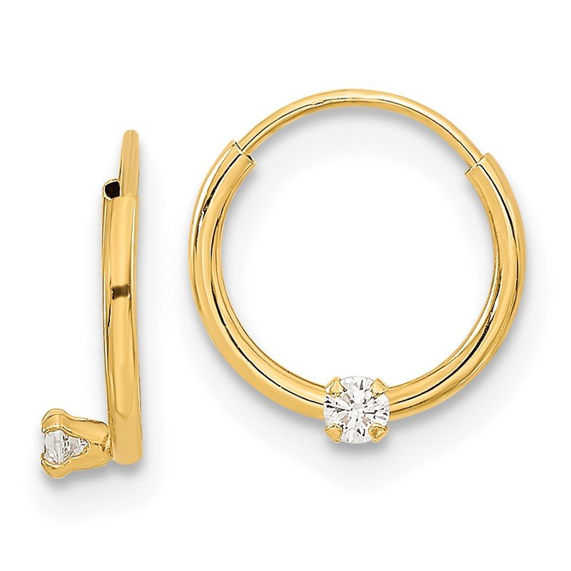 Quality Gold 14k Madi K Polished 2mm CZ on Small Endless Hoops