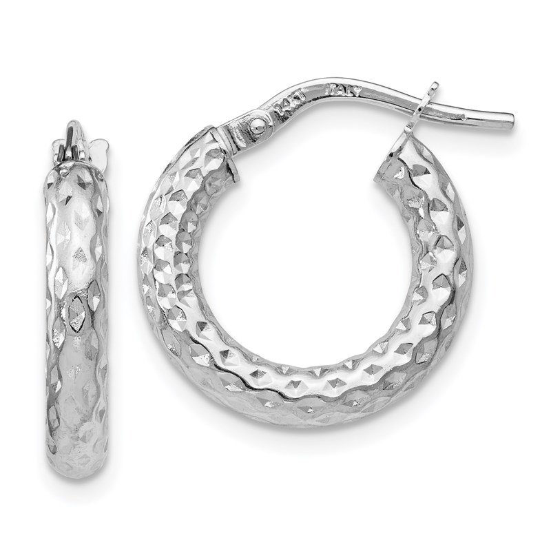 Leslie's Leslie's 14K White Gold Polished D/C Hoop Earrings