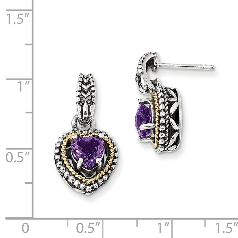 Shey Couture Sterling Silver w/14k Antiqued Amethyst Heart Post Dangle Earrings