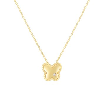 14K Gold Diamond Butterfly Piccolini Pendant