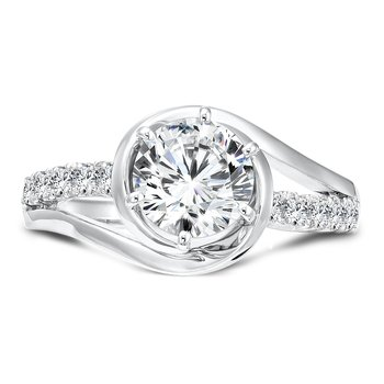 Modernistic Collection 6-prong Criss Cross Diamond Engagement Ring in 14K White Gold with Platinum Head (1-1/4ct. tw.)