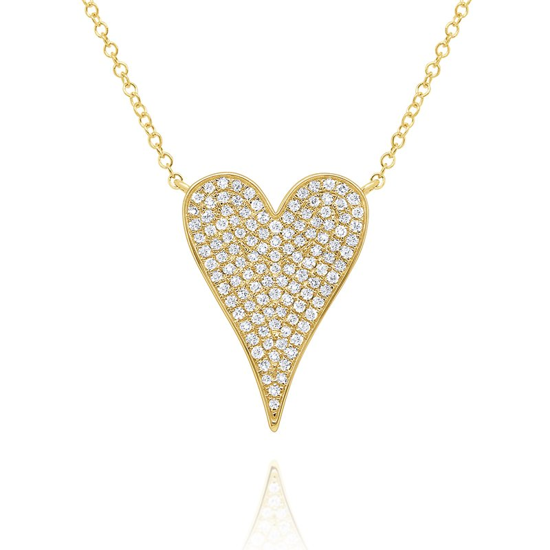 KC Designs 14k Gold and Diamond Pave Heart Necklace, Small