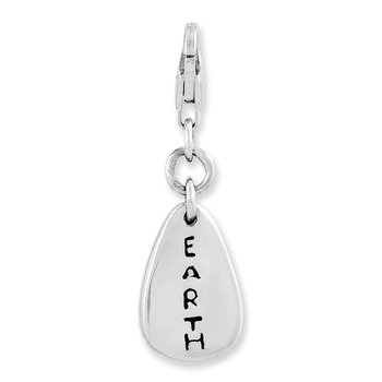 Sterling Silver Rhodium-plated Earth Symbol w/Lobster Clasp Charm