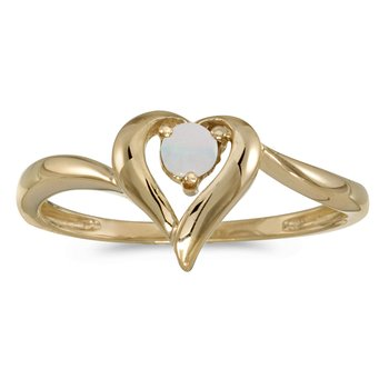 10k Yellow Gold Round Opal Heart Ring