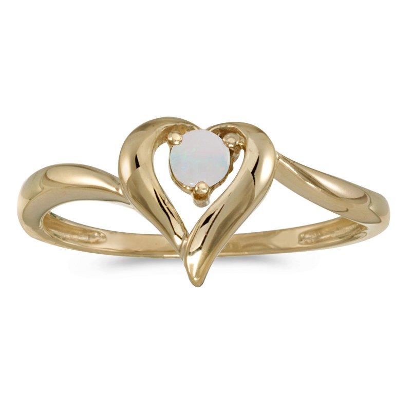 Color Merchants 10k Yellow Gold Round Opal Heart Ring