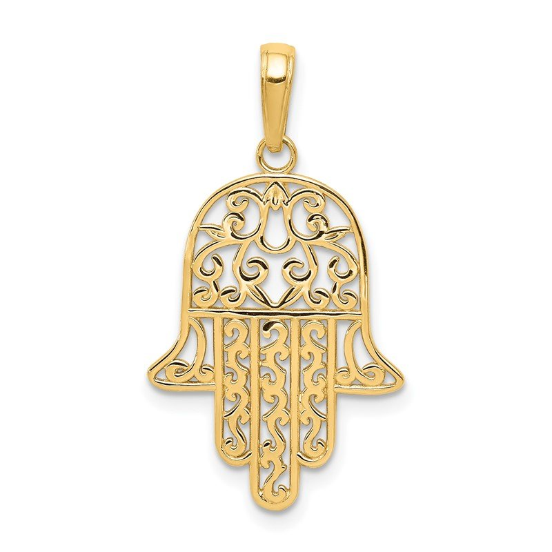 Quality Gold 14K Filigree Chamseh Pendant