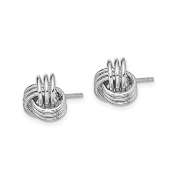 Sterling Silver Rhodium-plated Polished Love Knot Post Earrings