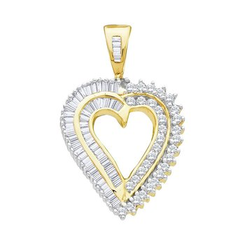 14kt Yellow Gold Womens Round Diamond Heart Love Pendant 7/8 Cttw