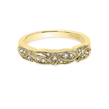 Milgrain Leaf Diamond Wedding Band