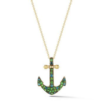 "Our own original anchor in 14K warm Yellow gold. Set with a combination of  Tsavortites,Blue Diamonds and White diamonds  1"" long by 3/4"" wide"