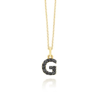 "Black Diamond Baby Block Initial ""G"" Necklace"