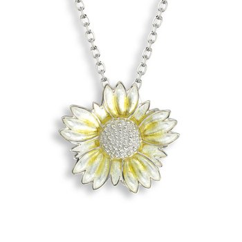 Yellow Coastal Tidytip Flower Necklace.Sterling Silver