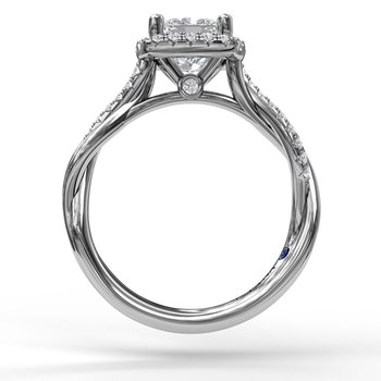 Halo Engagement Ring With Criss Cross Diamond Band