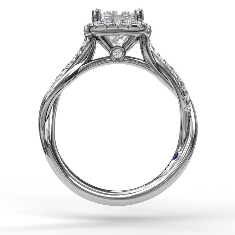 Fana Halo Engagement Ring With Criss Cross Diamond Band