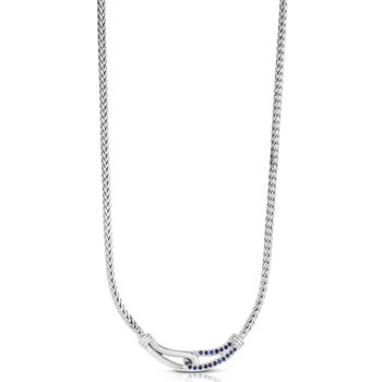 Sterling Silver Sapphire Woven Necklace