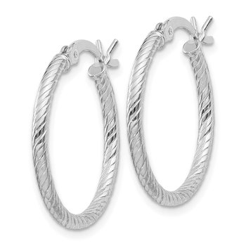 Sterling Silver Fine Twist 1.75x20mm Hoop Earrings