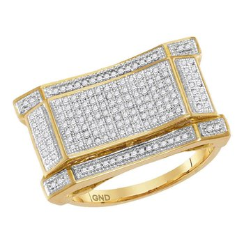 10kt Yellow Gold Mens Round Diamond Concave Rectangle Cluster Ring 1/2 Cttw