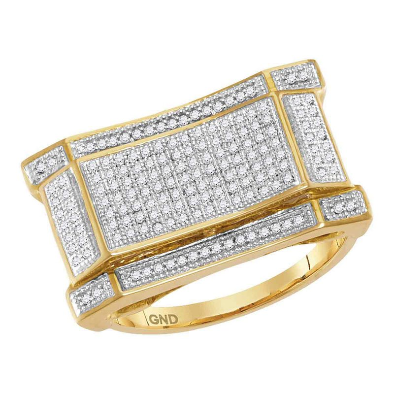 Kingdom Treasures 10kt Yellow Gold Mens Round Diamond Concave Rectangle Cluster Ring 1/2 Cttw
