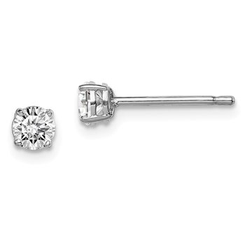 Sterling Silver Rhodium-plated Madi K 4mm Round CZ Stud Earrings