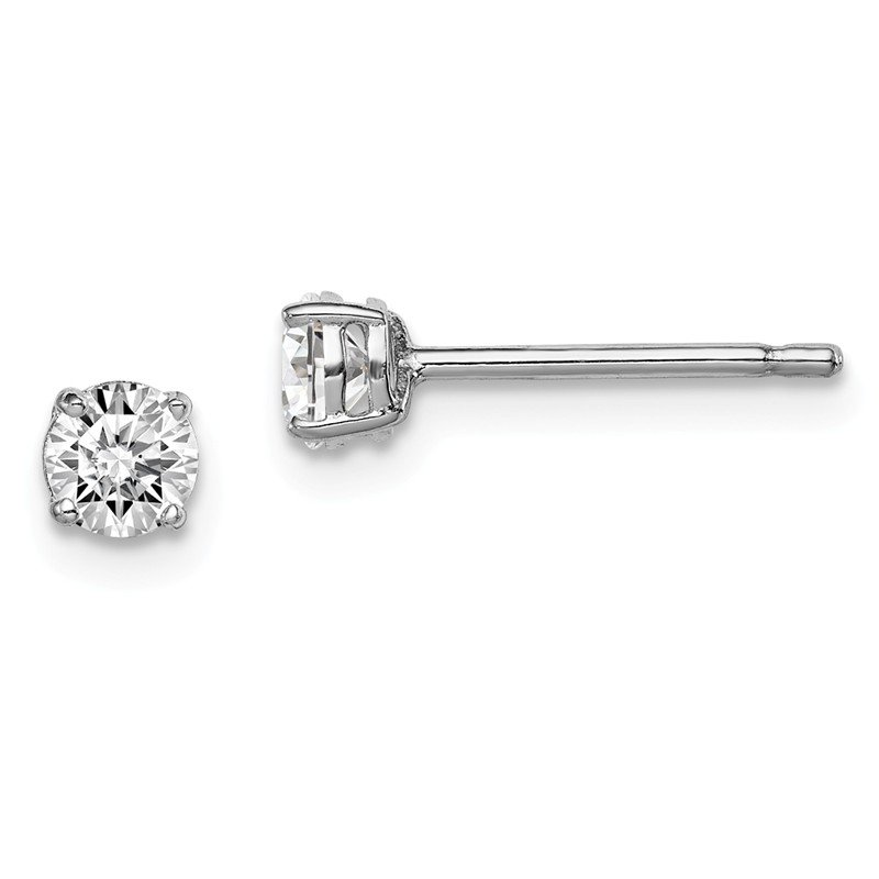 Arizona Diamond Center Collection Sterling Silver Rhodium-plated Madi K 4mm Round CZ Stud Earrings