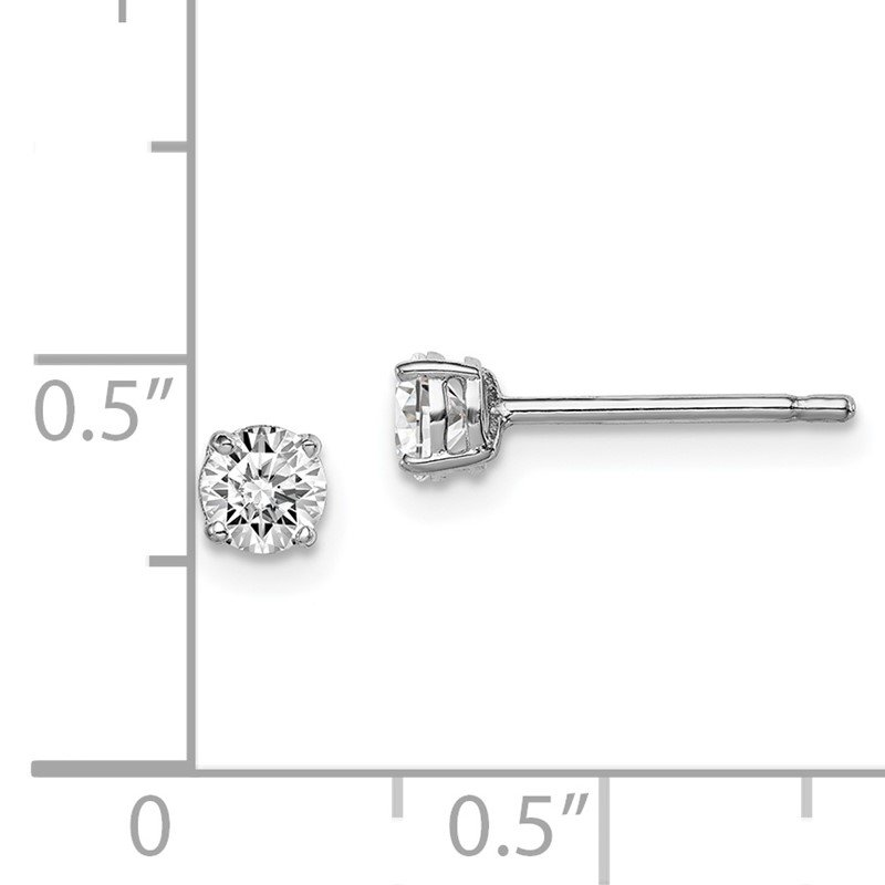 Quality Gold Sterling Silver Rhodium-plated Madi K 4mm Round CZ Stud Earrings