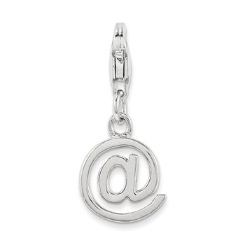 Sterling Silver Rhodium-Plated w/Lobster Clasp Polished @ Sign Charm