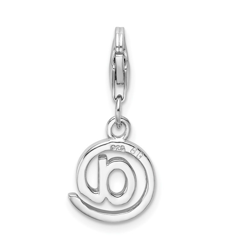 Quality Gold Sterling Silver Rhodium-Plated w/Lobster Clasp Polished @ Sign Charm