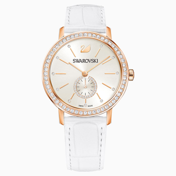 Graceful Lady Watch, Leather strap, White, Rose-gold tone PVD