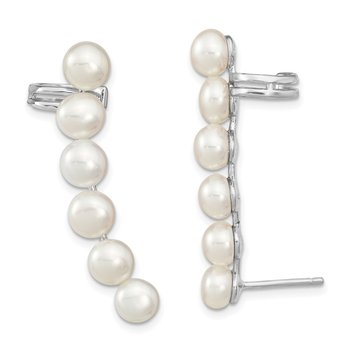 Sterling Silver RH 5-6mm White FWC Pearl Ear Climber/Cuff Earrings