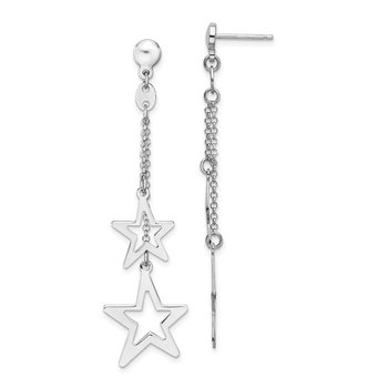 Sterling Silver Rhodium-plated Stars Dangle Post Earrings