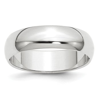 14k White Gold 6mm Half-Round Band