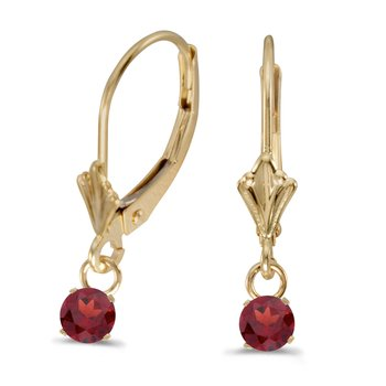 14k Yellow Gold 5mm Round Genuine Garnet Lever-back Earrings