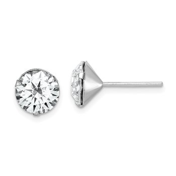 Sterling Silver Rhodium-plated Swarovski Crystal Post Earrings