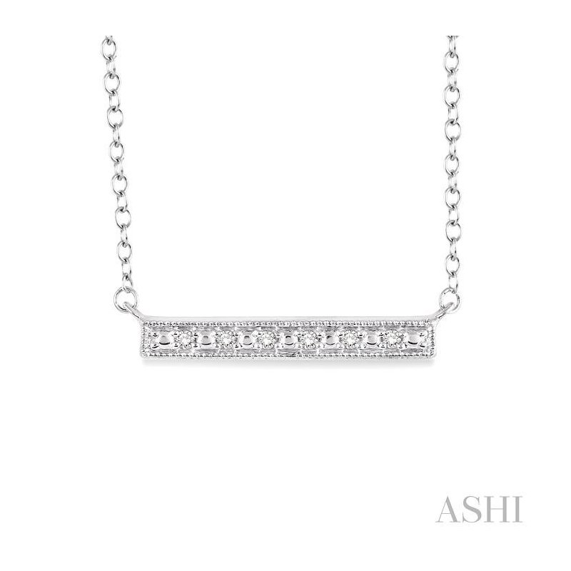 ASHI silver bar diamond pendant
