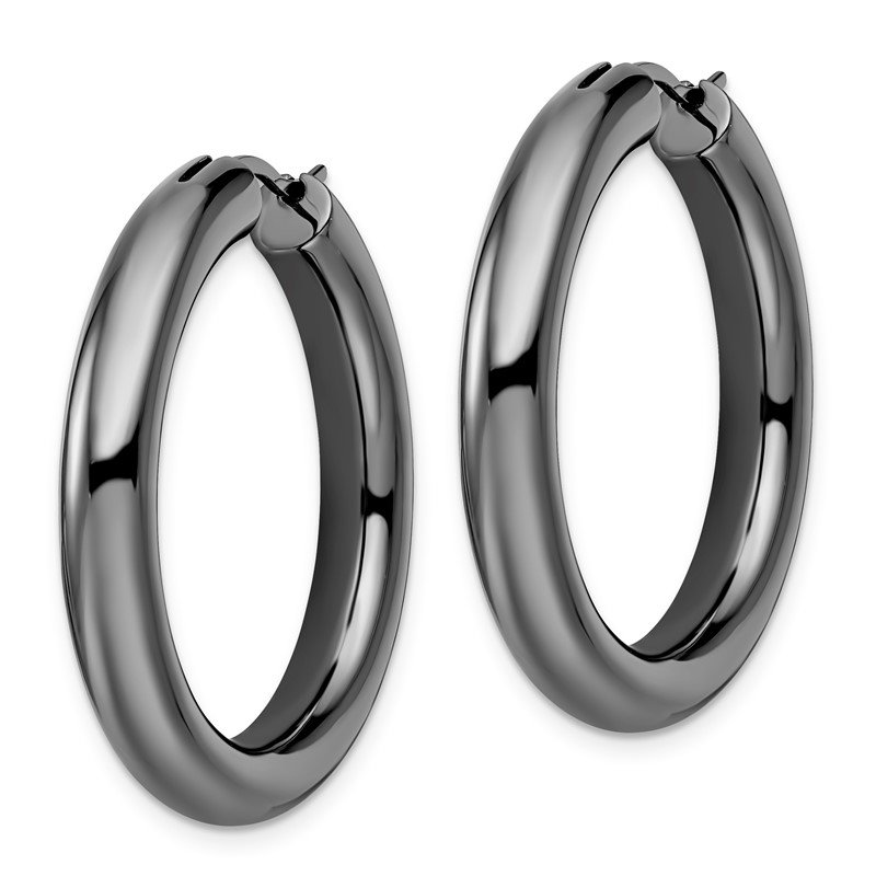 Leslie's Leslie's Sterling Silver Black-plated 5mm Tube Earrings