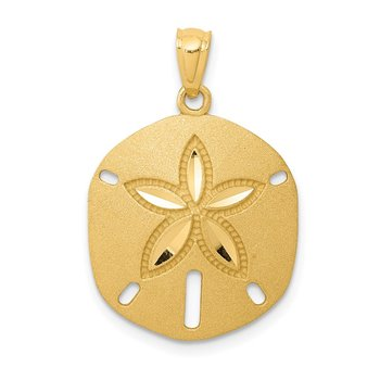 14k Satin Diamond-cut Sand Dollar Pendant