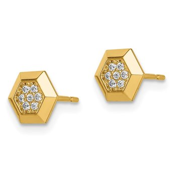14k Madi K Hexagon CZ Stud Earrings