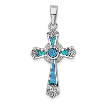 Sterling Silver Rhodium-plated CZ / Created Opal Cross Pendant