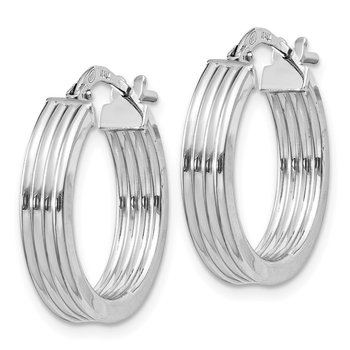 Sterling Silver Rhodium-plated Grooved 4x20mm Hoop Earrings