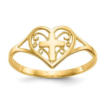 14k Polished Heart w/ Cross Ring