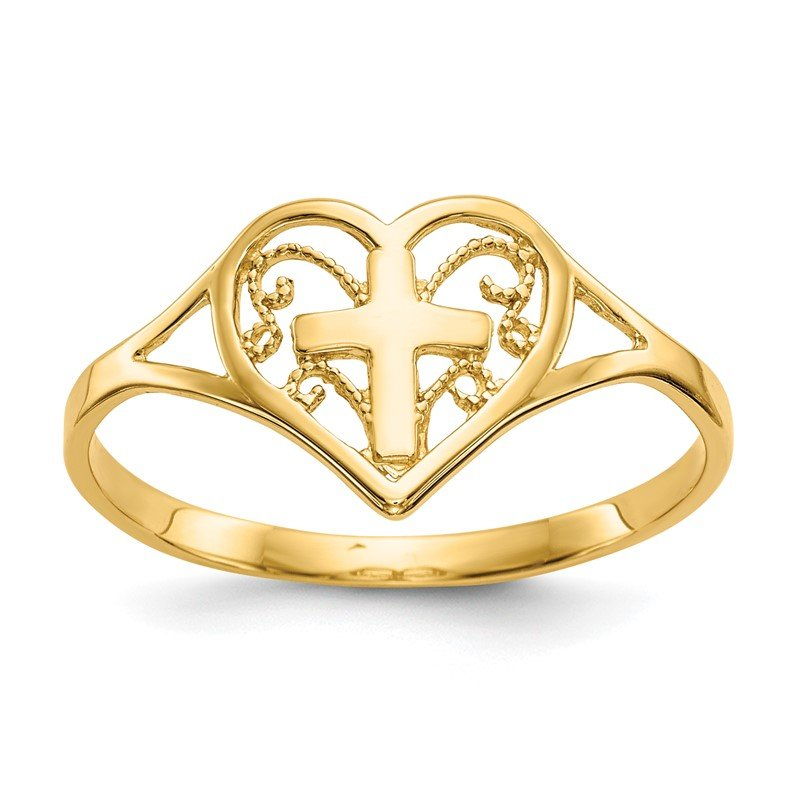 Quality Gold 14k Polished Heart w/ Cross Ring