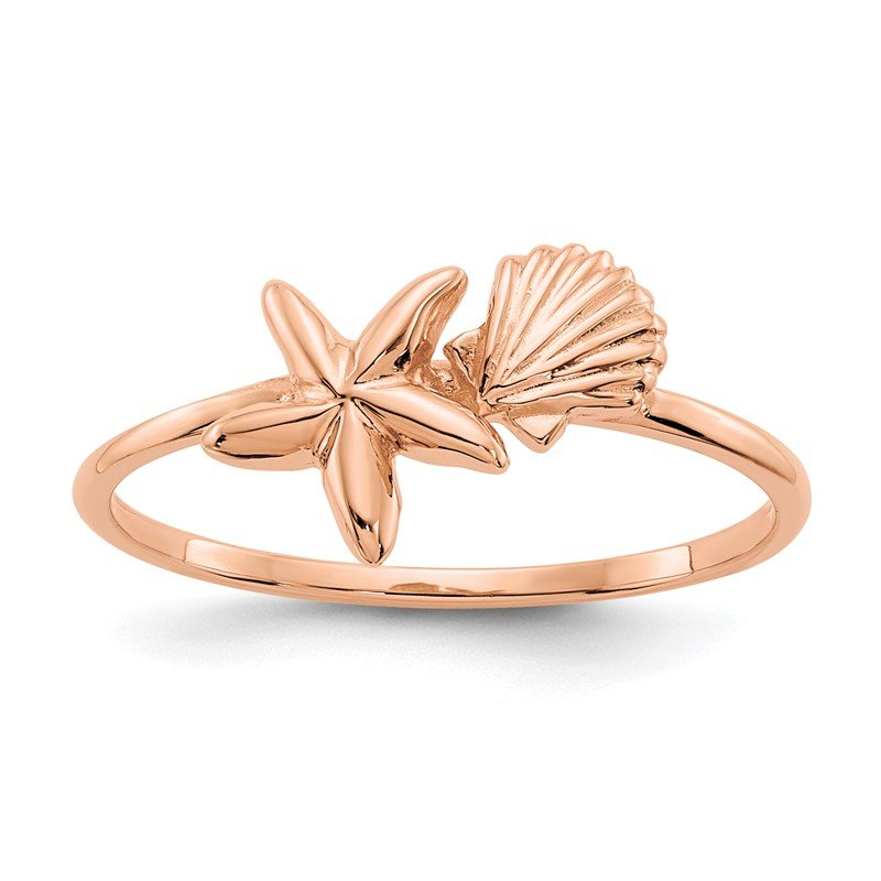 Quality Gold 14k Rose Gold Polished Shell & Starfish Ring