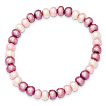 6-7mm White/Lavender/Pink Freshwater Cultured Pearl Stretch Bracelet