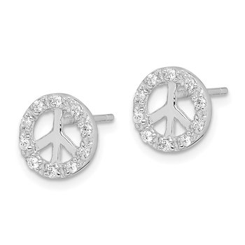 Sterling Silver Small CZ Peace Symbol Post Earrings
