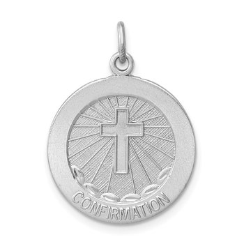 Sterling Silver Rhodium-plated Brushed Confirmation Medal Pendant