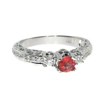 14k White Gold Ruby Solitaire Ring