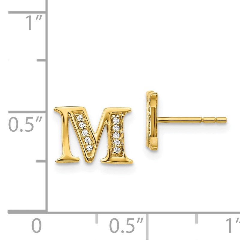 Quality Gold 14k White Gold Diamond Initial M Earrings