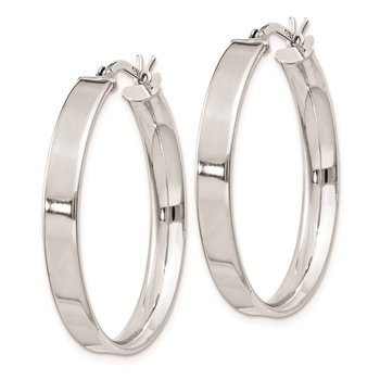 Sterling Silver Rhodium Plated 4.25x30 Hoop Earrings